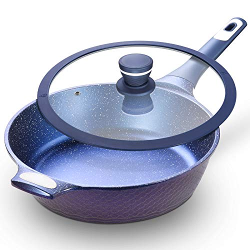 """11"""" Nonstick Deep Frying Pan with Lid – 11 Inch Nonstick Skillets with USA Blue Gradient Granite Derived Coating Heatresisted Silicon Handle PFOA ampPFOS Free Induction Compatible"""