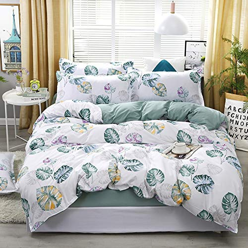 ARLT Bedding Set Leaf Printed Bed Linen Sheet Plaid Duvet Cover 240x220 Single Double Queen King Quilt Covers Sets Bedclothes (Color : Banana Leaf, Size : Single 3pcs 150x200)