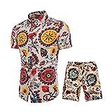 Holataa Conjunto Hombre Camisas Manga Corta + Pantalones Cortos Verano Shorts Hombre Casual