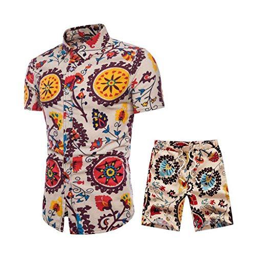 Sunnymi 2 pièces Tenue d'été confortable à manches courtes et pantalon court Ttitching pour homme - Jaune - Taille XL