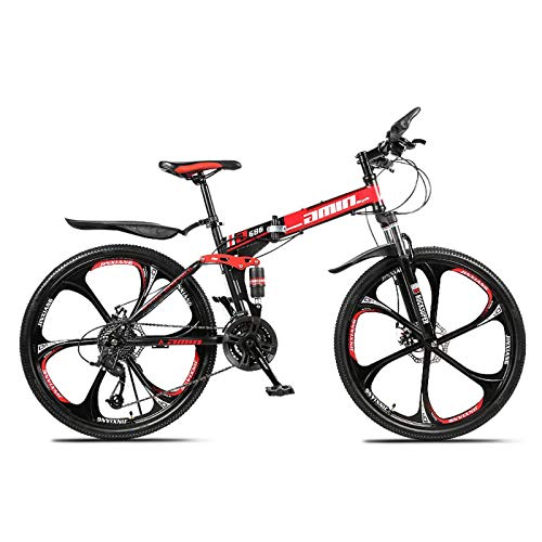 N-B Folding Mountain Bike, Outdoor Off-road 26-inch 21-speed Dual-shock Integrated Pedal Bike, Suitable For Mountain And Road