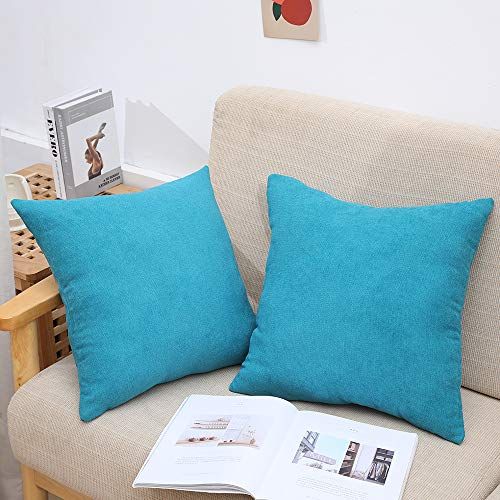 NA. Solid Color Pillow Covers Square Throw Pillow Covers 18x18 Cushion Cover Sofa Home Decoration Emerald Cushion Cover 2 Pieces