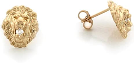 10k or 14k Real Gold 1.1cm Round Nugget CZ Unisex Earring