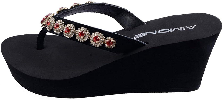 T-JULY Women High Heel Crystal Black Platform Slippers Summer Beach Wedges Flip Flops Sandals