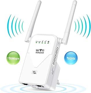 AC750 Repetidor de WiFi Amplificador Señal Router Banda Dual Mesh Extensor WiFi Booster (300 Mbps en 2,4GHz y 433 Mbps en 5GHz) Punto de Acceso WiFi, WPS, Puerto Ethernet, Velocidad de hasta 750Mbps