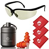 Titan Tactical Eyes + Ear Protection Kit w/ 29NRR Reusable Shooting Ear Plugs + Mil-Spec Tinted Range Ballistic Glasses (for Normal + Small Ear Canals)