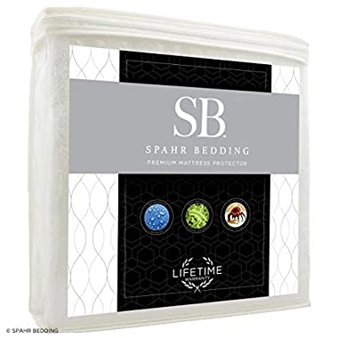 Spahr Bedding Waterproof Mattress Protector - Hypoallergenic Mattress Cover - Cotton Terry Bed Topper for Dust Mite, Allergy Protection - Noiseless, Cool-Sleeping, Breathable - King Size