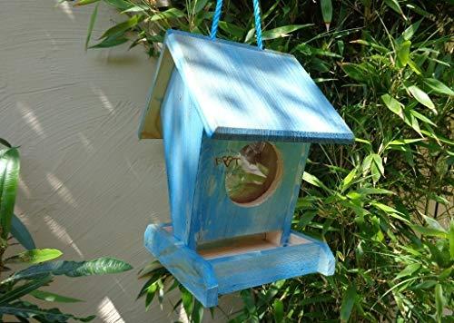 Vogelhaus,futterstation, K-BEL-VOFU1K-blau002 Süßes PREMIUM-Qualität,Vogelhaus,Vogelfutterhaus groß 50 cm Holz blau marineblau hell, als Ergänzung zum Meisen Nistkasten Meisenkasten Nisthaus oder zum Insektenhotel Insektenhaus, Futterstellen und Futterstationen für Vögel, Vogelhäuschen / Vogelvilla zum Hängen und Aufstellen von BTV - 2