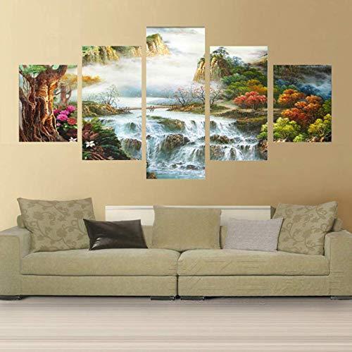 Impresiones en lienzo HD Pintura abstracta del arte de la pared del país de las hadas 5 paneles Imagen moderna del regalo del arte para la decoración de la pared de la habitación 200x100 cm