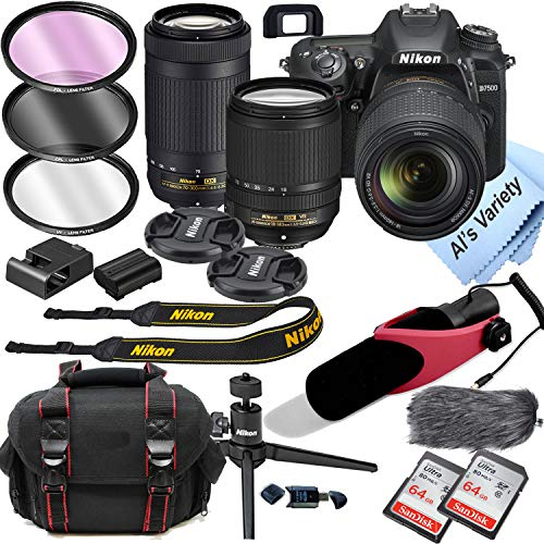 Nikon D7500 DSLR Camera Kit with 18-140mm VR + 70-300mm Zoom Lenses | Built-in Wi-Fi|20.9 MP CMOS Sensor | 128Gb Memory | Shotgun Condenser Micro Phone | 18pc Bundle