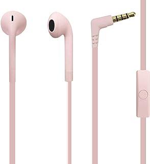 Puro Słuchawki douszne, seria Icon, płaski kabel, efekt Soft-Touch, przycisk wielofunkcyjny, wbudowany mikrofon, różowy