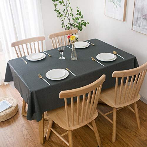 GTWOZNB fácil de Limpiar, para jardín, Habitaciones, decoración de Mesa, PVC de Color Puro a Prueba de Agua y Aceite-Gris Negro_El 140 * 140cm