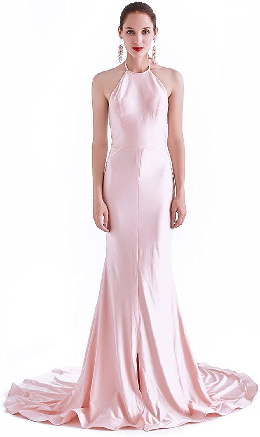 CG Chris Gelinas France CG Women's Column Halter Neck Vintage Evening Gowns for Formal Sexy Maxi Party Prom Long Dress J0260