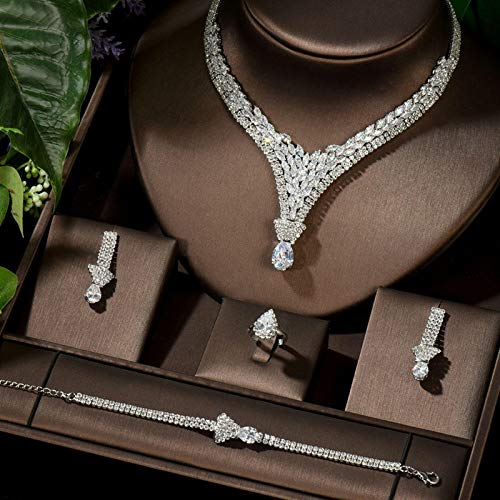 HappyL Vintage Bridal Necklace And Earrings Set Water Drop Design Jewelry Set Wedding Bijoux (Color : Platinum Plated)