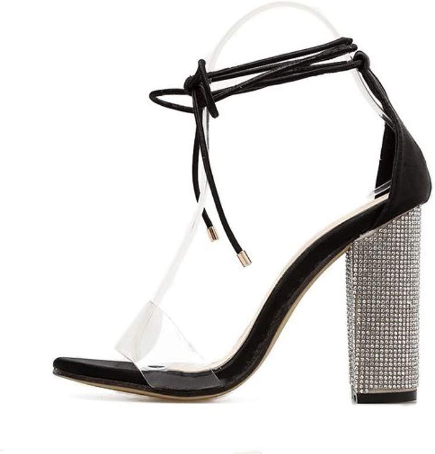 JQfashion Ladies High Heels Sexy Straps Transparent High Heels Sandals Thick Heels Roman shoes