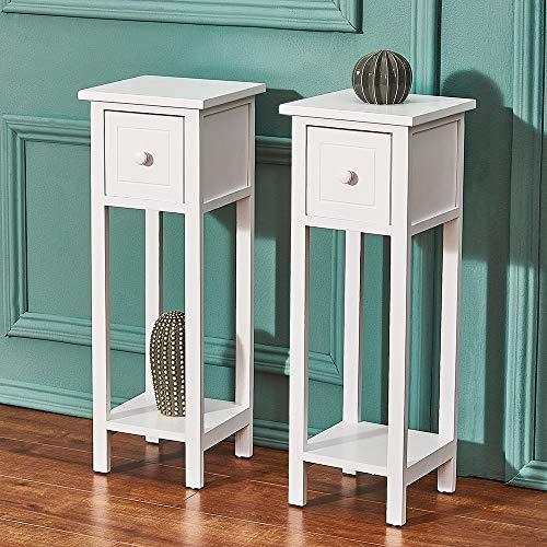 Panana White Bedside Cabinet Table Set of 2 French Inspired Hallway Side Table Bedside Unit with Drawer Slim Tall Telephone Nightstand Lamp Table for Bedroom