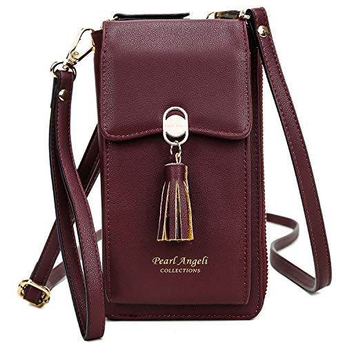 RFID Blocking Wallet Women's Small Crossbody Handbag Cell Phone Bag Credit Card Purse with Tassel Wine Red