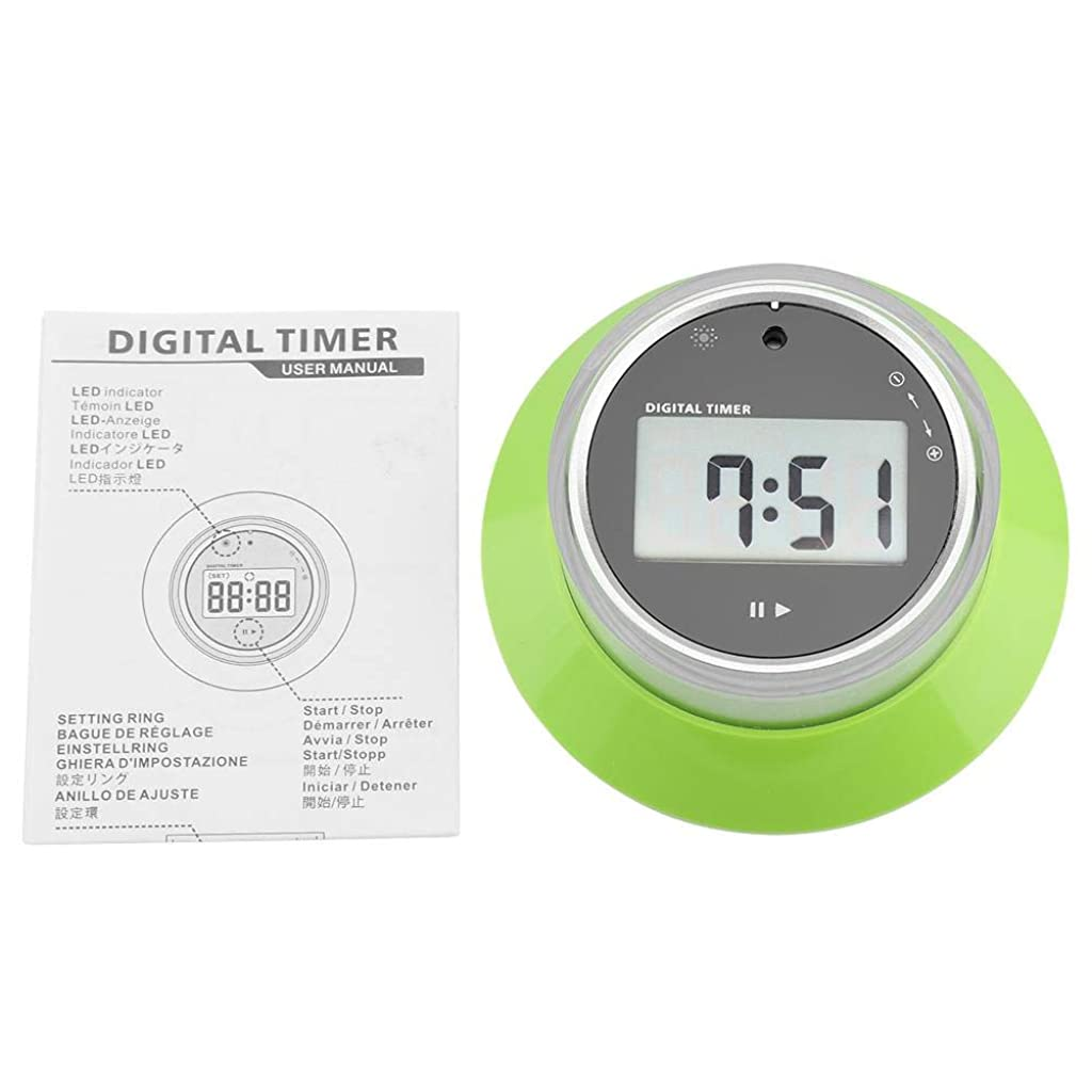 導出コロニー野なラウドキッチンタイマー、デジタルLCDスクリーンキッチンクッキングタイマーポータブルラウンド磁気カウントダウン目覚まし時計タッチボタン付き(緑)