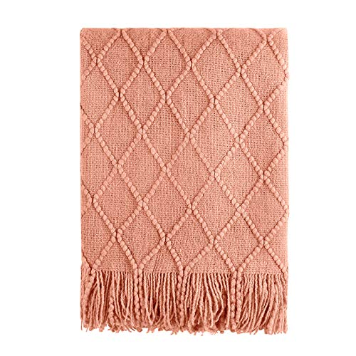 Bourina Coral Throw Blanket Textured Solid Soft Sofa Couch Decorative Knit Blanket, 50' x 60', Coral