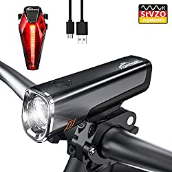 toptrek Bicycle Light StVZO Approved LED Bicycle Lights Battery Pack USB Rechargeable CREE LED / Samsung Li-ion Battery 7 Hours Running Time IPX5 Waterproof Bike Lamp for MTB / BMX (LF08)