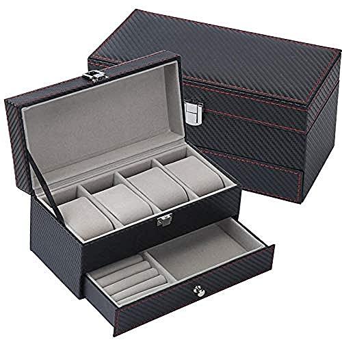 MMYNL 4 Caja de Reloj de Doble Capa Organizador cosmético Collar Caja de Almacenamiento de Gafas Caja de joyería 22 * 11 * 11cm-1