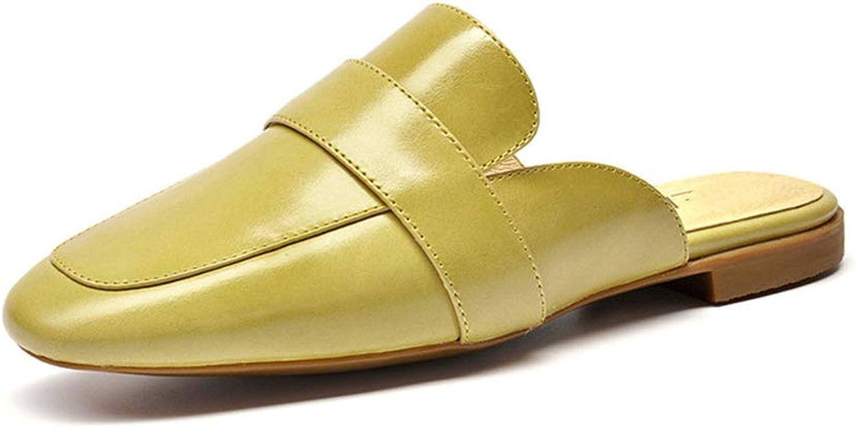 Sandalen Hausschuhe Flache Schuhe Leder Quadrat Schuhe Sommer Damen lssig grün