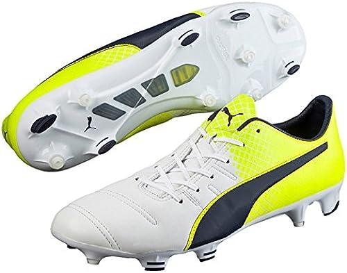 Puma EvoPower 1.3 Leather FG Football Stiefel - Weiß Peacoat Solar Gelb - Größe 8