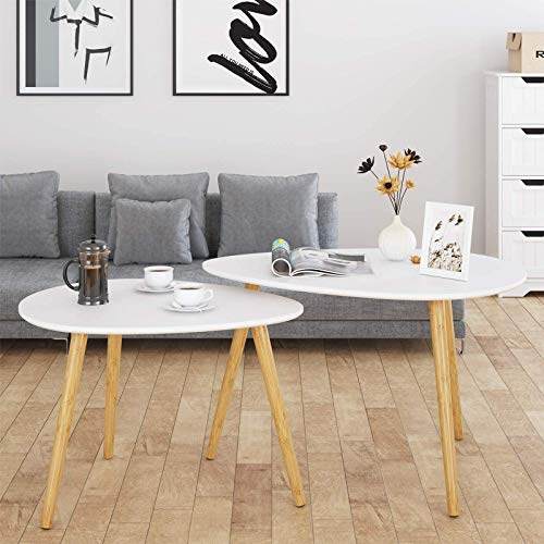 HOMFA Large Nesting Coffee Tables for Living Room, Drop Shape End Side Tables...