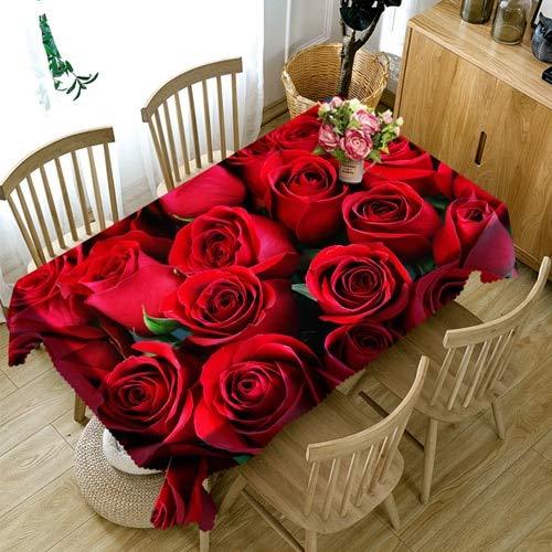 XXDD Mantel 3D con patrón de Rosas Doradas, Mantel Rectangular Lavable a Prueba de Polvo para decoración de Bodas, Cubierta de Mesa A10 140x180cm