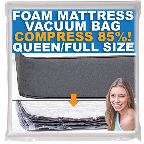 Foam Mattress Vacuum Bag, Sealable Bag for Memory Foam Mattresses, Compression and Storage for Moving and Returns, Leakproof Valve and Double Zip Seal (Queen/Full/Full-XL)