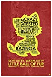 Soft Kitty, Warm Kitty Giclee Art Print Poster from Typography Drawing by Pop Artist Stephen Poon 12' x 18'