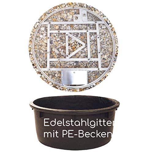 Köhko Abdeckgitter-Set aus Edelstahl mit PE-Becken Ø 88 cm (150 Liter) für Wasserspiel Springbrunnen