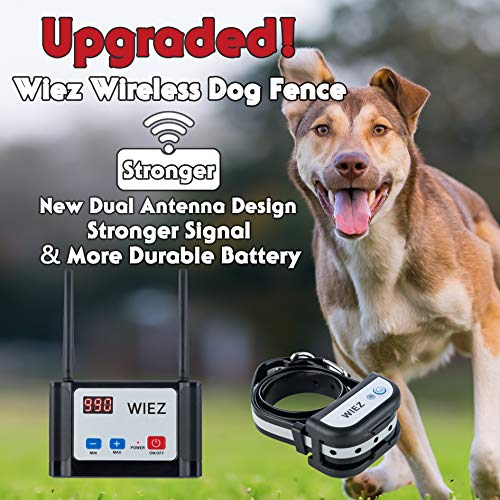 WIEZ Electric Wireless Dog Fence Upgraded, Dual Antenna-Stronger Signal, Adjustable Range Control 100-990 ft, Waterproof Collar, Rechargeable, Harmless for All Dogs, for Outdoor (1 Collar)