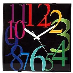 ISHIWA 12-inch Modern Contemporary Square Non-Ticking Wall Clock Convex Glass Lens Home Decor (W40450-BA)