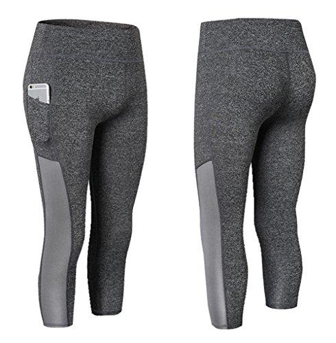 Rookay Capri Leggings with Pockets for Women Plus Size High Waist Tummy Control Yoga Tights (XXL, Gray)