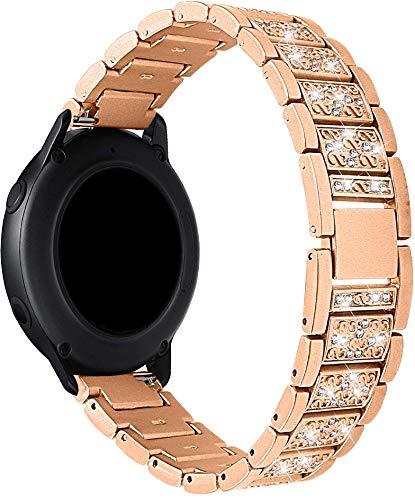 Othor Compatible con Amazfit GTR 42mm / GTS/Bip/Bip Lite Mujer Hombre Correa de Reloj, Correa de Acero Inoxidable sólida Correa de Metal con Cierre rapido (20mm, Oro Rosa)