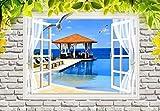 Fototapete 3D Vlies Tapete -250X175Cm-XL Grüne Blätter Pavillon Wandbild Wandbilder Wohnzimmer Fernseher Sofa Hintergrund Tapete Moderne Wohnkultur