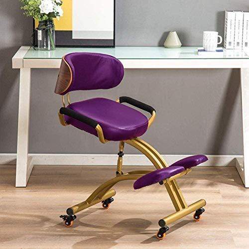 Ajustable de Cuero de imitación Silla de Oficina ergonómica Rodillas Silla Postura Corrección Kneel Taburete con Amortiguador Grueso cómodo Sillón (Color : Purple)