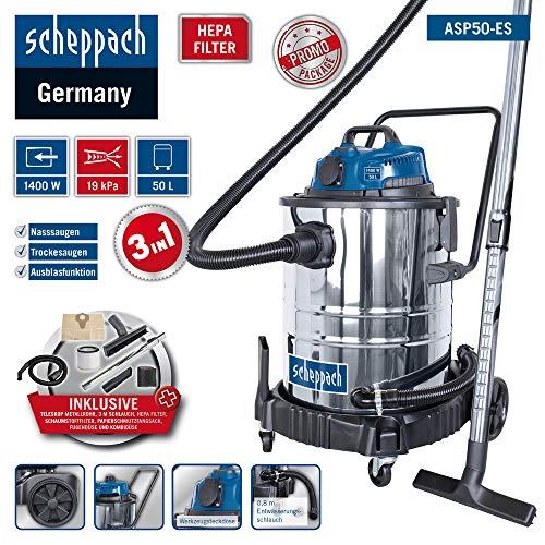 Scheppach Nass Trockensauger ASP50-ES (1400 W, 190 mbar, 50 L, 6,5m Arbeitsradius, Geräte-Steckdose, HEPA-Filter, Kombidüse für Teppich/Glattboden, Fugendüse, umfangreiches Zubehörset)