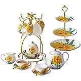 XiYou Juego de platillo para Taza de café de cerámica con 11 Piezas, Juego de té de Porcelana para el hogar con Tetera y portavasos, Juego de Taza y platillo con diseño de Girasol, Regalo
