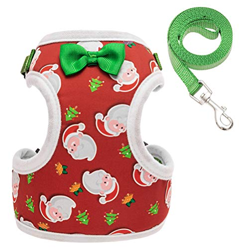 Mihachi Christmas Cat Harness and Leash Set Escape Proof Cute Santa Pattern Soft Mesh Adjustable Vest Nylon Belt for Cats Small Dogs Green Medium
