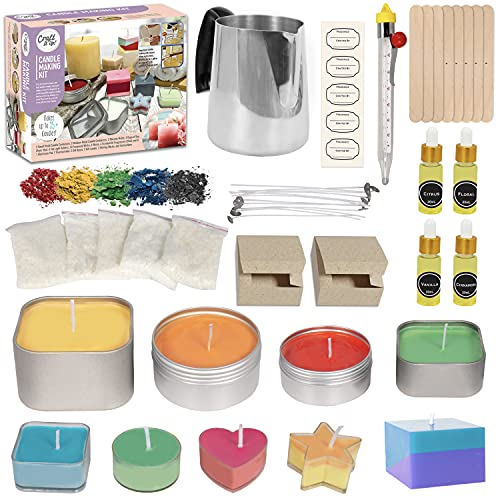 Candle Making Kit by Craft It Up! Complete DIY Beginners Set with Silicone Molds, Soy Candle Wax Supplies Plus Pot, Wicks, Essential Oils & More, Scented Homemade Candles Set for Teens & Adults