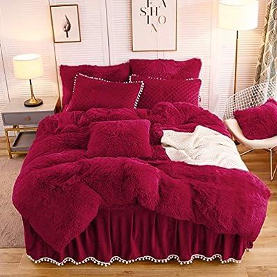 LIFEREVO Luxury Plush Shaggy Duvet Cover Set (1 Faux Fur Duvet Cover + 2 Pompoms Fringe Pillow Shams) Solid, Zipper Closure