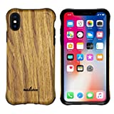 NeWisdom iPhone X XS Case Wood Shockproof Unique Hybrid Rubberized Cover Wooden over Rubber Soft Real Wood Case Cover for Apple iPhone X XS