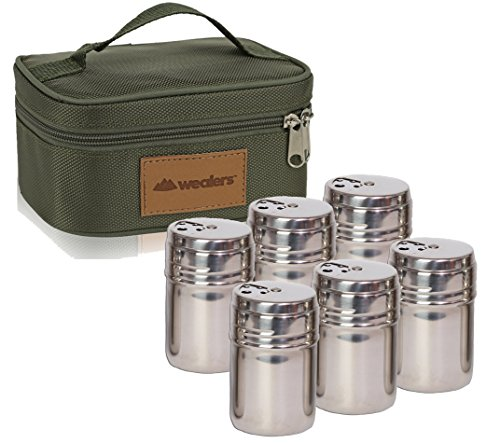 Wealers 6 Piece Stainless Steel Spice Shaker Jars Salt and Pepper Holder BBQ Spice Herbs 3 Size Cover with Bag for East Travel, Great for Home or Outdoor Use,
