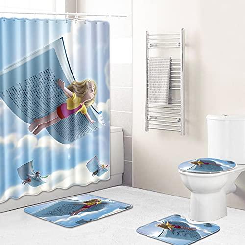 MMHJS Impresión De Textura Minimalista Moderna Baño Cortina De Ducha A Prueba De Agua Sala De Ducha Alfombrillas Antideslizantes Alfombrillas De Baño para Inodoro Combinación De 15 Piezas