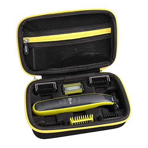 Aproca Hard Travel Carry Case for Philips Norelco OneBlade Face + Body hybrid electric trimmer and shaver QP2630/70 QP2630/72 (Black with yellow zipper)