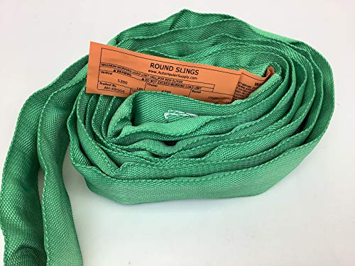 Endless Round Slings from 3'-20' Poly with 5300-40,000 lbs Vertical WLL, 4200-32,000 lbs Choker WLL, 10,600-80,000 lbs Basket WLL (Green-5300 lbs Vertical & 10,600 lbs Basket WLL, 6 ft)