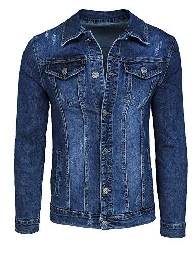 Evoga Giubbotto di Jeans Uomo Casual Blu Scuro Denim Giacca Giubbino Slim Fit (XL, Blu Scuro)