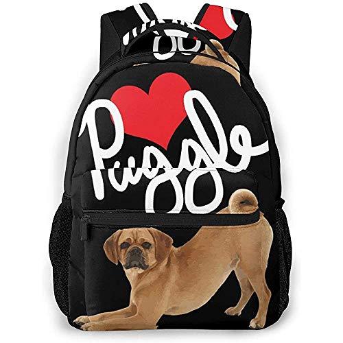 Daypacks,Puggle Dog Love Welcome Brothers Geeignete Studentenrucksäcke Zum Klettern Wandern Reisen,40cm(H) x29cm(W)